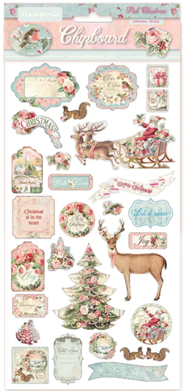 NEW Stamperia Chipboard - Pink Christmas - BFLCB06