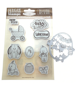 NEW Stamperia Baby Stamp Set with Die