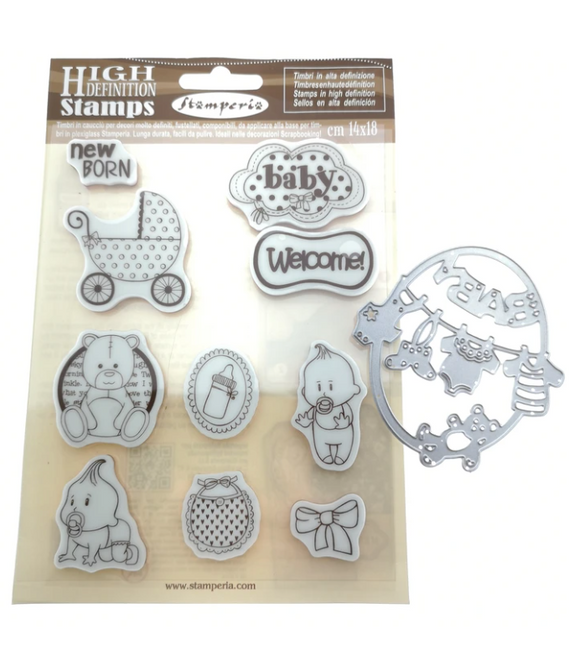 Stamperia Baby Stamp Set with Die