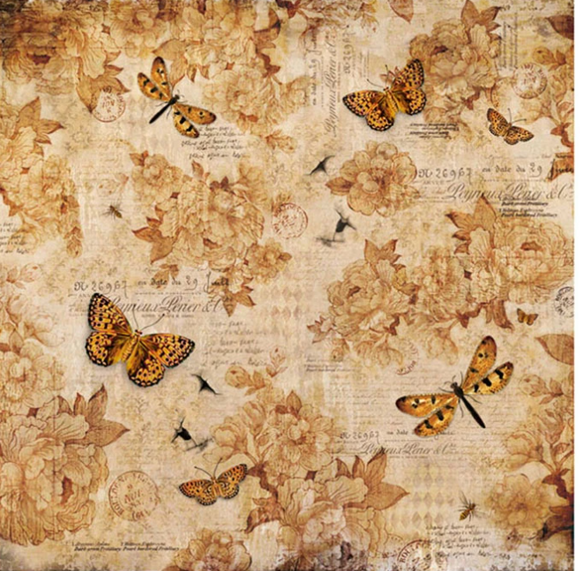 NEW Stamperia 50 x 50cm Decoupage Rice Paper - Vintage Butterflies DFT323