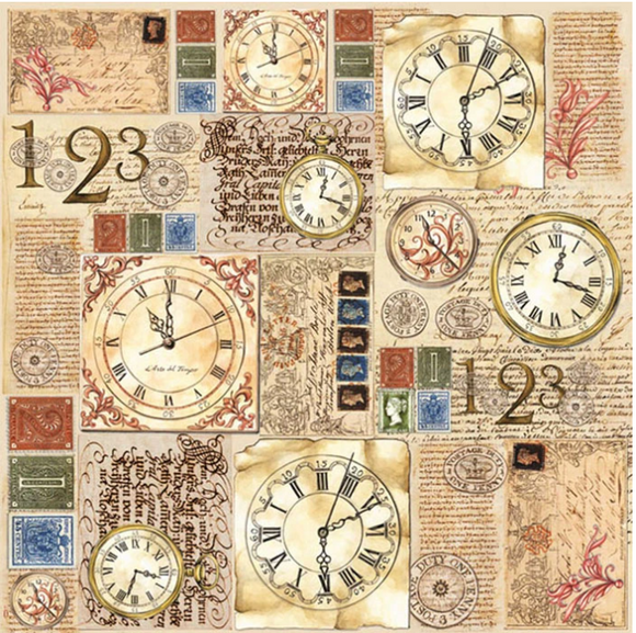 NEW Stamperia 50 x 50cm Decoupage Rice Paper - Steampunk Postage DFT180