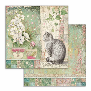 "Stamperia 'Orchid and Cats - Cat & Vase"" -  Double Face Paper 30 x 30 SBB752"