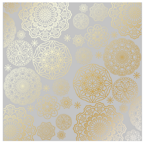 Fabrika Decoru 'Midnight Garden - Gray ' 12x12 Gold Embossed Cardstock - FDFMP-18-005