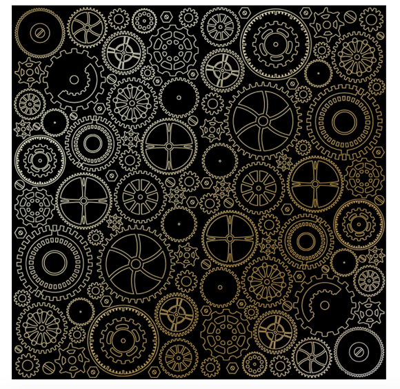 Fabrika Decoru 'Cogs and Gears - Black ' 12x12 Gold Embossed Cardstock - FDFMP-17-005