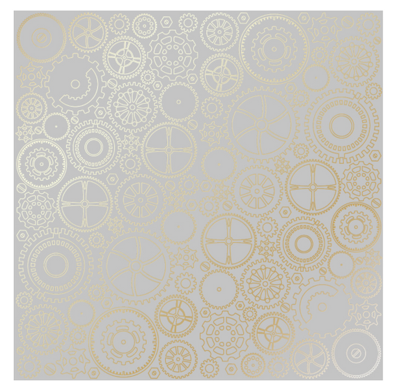 Fabrika Decoru 'Cogs and Gears Gray' 12x12 Gold Embossed Cardstock - FDFMP-17-003