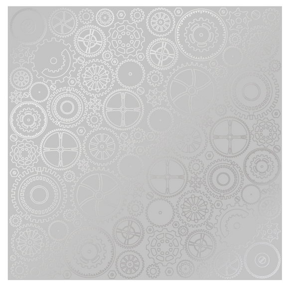 Fabrika Decoru 'Cogs and Gears - Silver' 12x12 Silver Embossed Cardstock - FDFMP-17-008