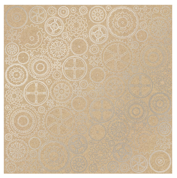 Fabrika Decoru 'Cogs and Gears - Kraft' 12x12 Silver Embossed Cardstock - FDFMP-17-007