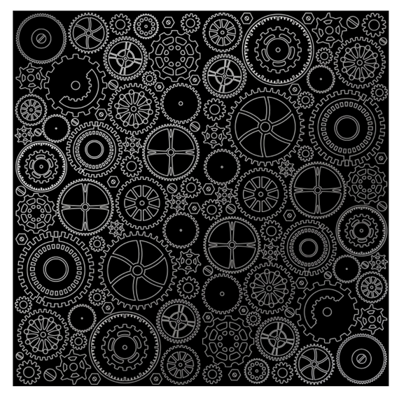 Fabrika Decoru 'Cogs and Gears - Black' 12x12 Silver Embossed Cardstock - FDFMP-17-010