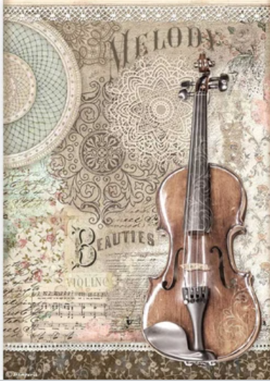 New Stamperia A4 Decoupage Passion Violin DFSA4538- Pre-Order