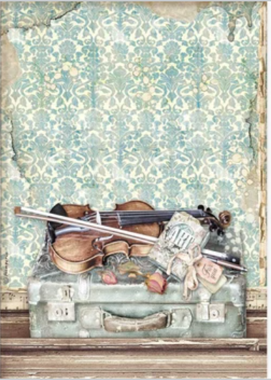 New Stamperia A4 Decoupage Violin & Travelling  DFSA4544- Pre- Order