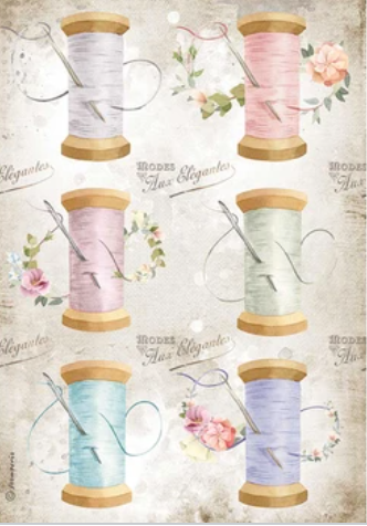New Stamperia A4 Decoupage Romantic Threads Needle & Thread DFSA4567- Pre-Order