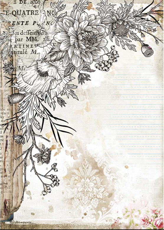 New Stamperia A4 Decoupage Romantic Journal Flower DFSA4553