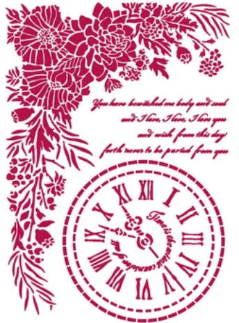 New Stamperia Stencil - Flexible transparent 21x29,7cm -Romantic Journal Clock - KSG465- Pre-Order