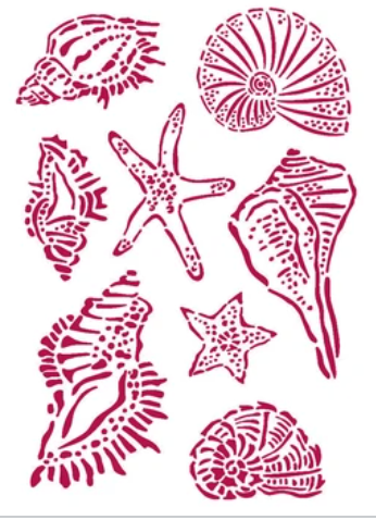 New Stamperia Stencil - Flexible transparent 21x29,7cm -Romantic Sea Dream Shells -KSG463- Pre-Order