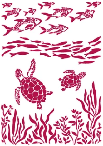New Stamperia Stencil - Flexible transparent 21x29,7cm -Romantic Sea Dream Fish & Turtles - KSG460- Pre-Order