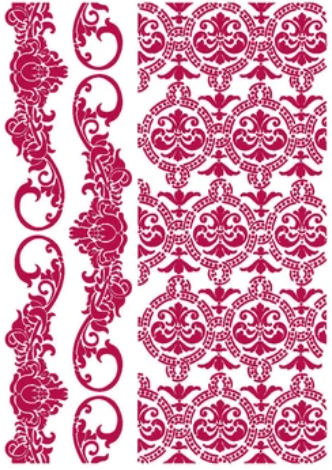New Stamperia Stencil - Flexible transparent 21x29,7cm -Romantic Journal Border & Textures - KSG458- Pre-Order