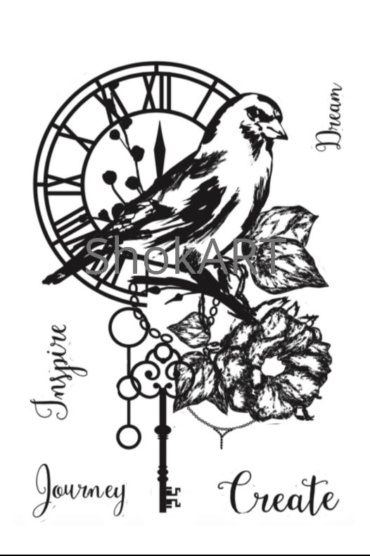 New ShokART- Floral Bird A6 Stamp- DA0075