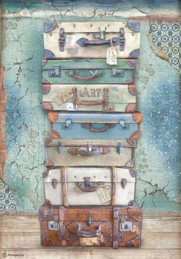 New Stamperia A4 Decoupage  Atelier des Arts Luggage DFSA4547