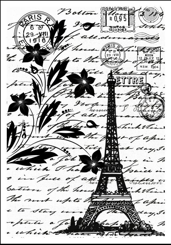 New ShokART- Rustic Paris A6 Stamp- DA0085