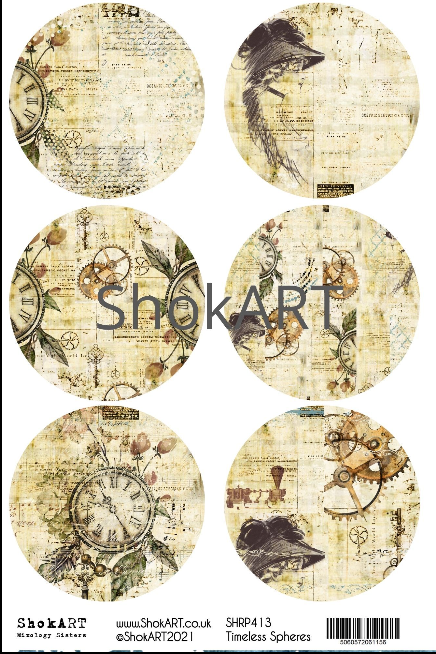 New ShokART A4 Rice Papers - Timeless  Spheres- SHRP413