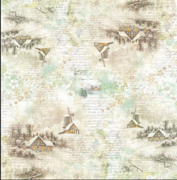 NEW Stamperia 50 x 50cm Decoupage Rice Paper - Winter Time DFT287