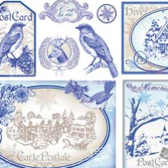 NEW Stamperia 50 x 50cm Decoupage Rice Paper - Vintage Blue Christmas DFS294