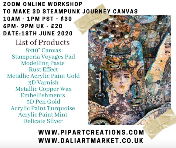 Zoom Online Workshop  - SteamPunk Journey Canvas - June 18th 10:00am -1:00pm