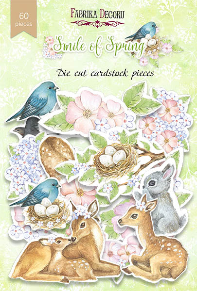 NEW Fabrika Decoru 'Smile of Spring' Die Cuts 60 pieces - FDSDC-04014