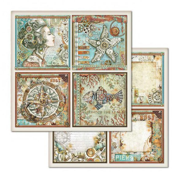 NEW Stamperia 'Sea World - Cards' -  Double Face Paper 30 x 30 SBB666