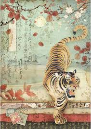 NEW Stamperia A4 Decoupage Rice Paper -  Tiger DFSA4393