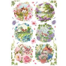 Stamperia A4 Decoupage Rice Paper -  Spring Little Landscapes DFSA4234