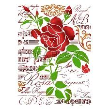 Stamperia Stencil - Flexible transparent 21x29,7cm - Rose and Music Script - KSG419