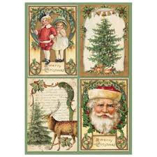 Stamperia A4 Decoupage Rice Paper - Christmas Postcards DFSA4196