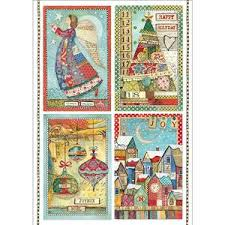 Stamperia A4 Decoupage Rice Paper -  Patchwork Postcards Make A Wish DFSA4408