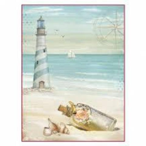 Stamperia A4 Decoupage Rice Paper -  Sea Land Lighthouse DFSA4284