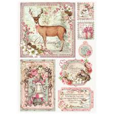 Stamperia A4 Decoupage Rice Paper - Sweet Christmas Postcards DFSA4251