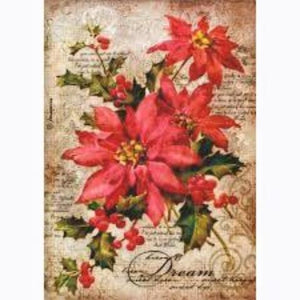 Stamperia A4 Decoupage Rice Paper -  Poinsettia DFSA4263