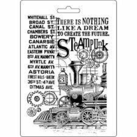 Stamperia Texture Impression Moulds - A5 -Steampunk Train K3PTA512