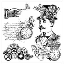 Stamperia Natural Rubber Stamps 10x10cm - Steampunk Man - WTKCC126