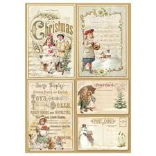 Stamperia A4 Decoupage Rice Paper - Christmas Vintage Postcards DFSA4201