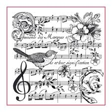 Stamperia Natural Rubber Stamps 10x10cm - Musical Notes Bird - WTKCC142