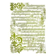 Stamperia Stencil - Flexible transparent 21x29,7cm - Musical Script - KSG409