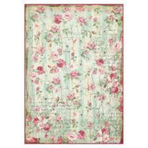 Stamperia A4 Decoupage Rice Paper -  Small Roses DFSA4275