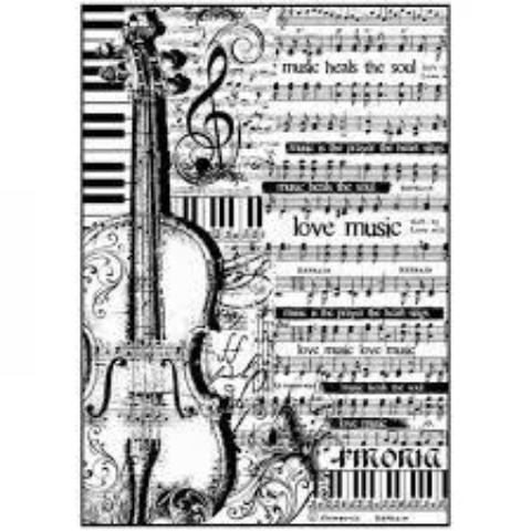 Stamperia A4 Decoupage Rice Paper -  Sheet Music with Violin DFSA4188