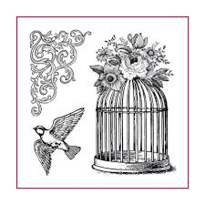 Stamperia Natural Rubber Stamps 10x10cm - Bird Cage - WTKCC141