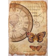 Stamperia A4 Decoupage Rice Paper - Clock & Butterfly DFSA4241