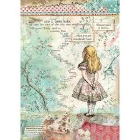 NEW Stamperia A4 Decoupage Rice Paper -  Alice DFSA4349
