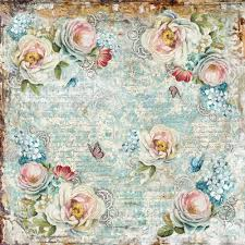 Stamperia 50 x 50cm Decoupage Rice Paper - Distress Flowers DFT320
