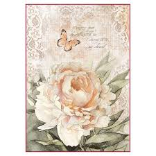 Stamperia A4 Decoupage Rice Paper - Vintage Rose and Laces DFSA4278