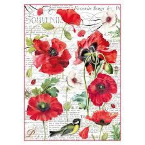 Stamperia A4 Decoupage Rice Paper -  Packed Poppies DFSA4306